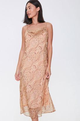 Forever 21 Chiffon Ornate Print Midi Dress