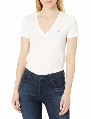 Lacoste Women's Short Sleeve Cotton Jersey V-Neck T-Shirt