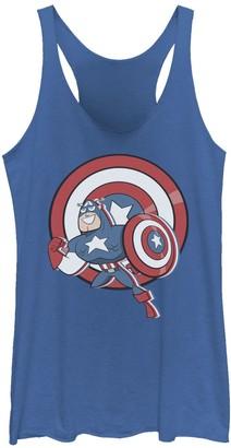 Licensed Character Juniors' Marvel Captain America Retro Cartoon Shield Portrait Tank Top
