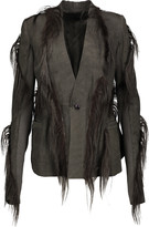 Rick Owens Goat hair-trimmed leather jacket