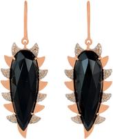Black Onyx & Diamonds- Claw Drop Earrings
