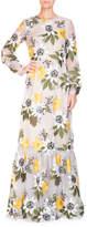 Erdem Ora Floral Long-Sleeve Gown