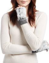 Adrienne Landau Rabbit Fur Fingerless Gloves, Dark Gray