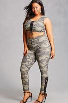 Forever 21 FOREVER 21+ Plus Size Lace-Up Camo Leggings