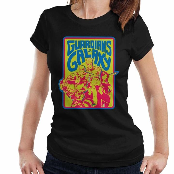 Marvel Guardians of The Galaxy Retro 70s Women's T-Shirt Black