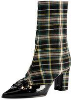 Olivier Theyskens Swanson Plaid Wool Hook-and-Eye Boot, Black Pattern