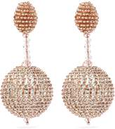 Oscar de la Renta Beaded strass pavé sphere drop clip earrings