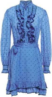 Zimmermann Moncur Ruffled Swiss-dot Ramie Mini Dress