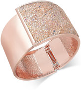 INC International Concepts Rose Gold-Tone Glittery Wide Hinged Bangle Bracelet, Only at Macy's