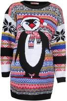 Forever Women's Aztec Penguin Print Neon Colourful Christmas Jumper