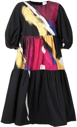 Stella Jean Abstract-Print Tiered Midi Dress