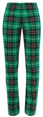 Marine Serre V-rise Tartan Tailored Trousers - Womens - Green