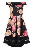 Quiz Black Floral Print Bardot Dip Hem Dress
