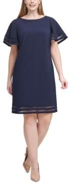 Jessica Howard Plus Size Illusion-Trim Sheath Dress