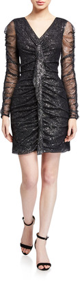 Parker Black Cynthia Foil Mesh Long-Sleeve Ruched Mini Dress