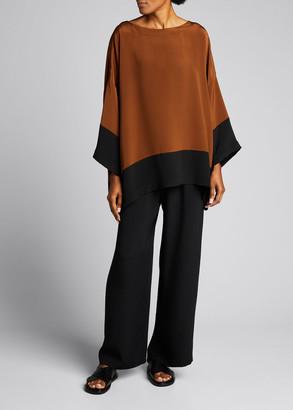 eskandar Bateau-Neck Colorblock Silk Tunic Top