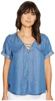 Lucky Brand Lace-Up Top Women's Short Sleeve Pullover