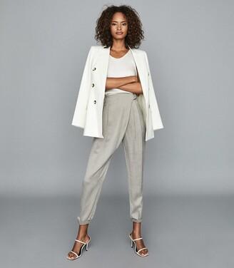 Reiss Rosalie - Wrap-front Trousers in Grey