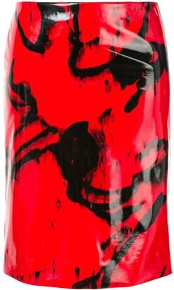 CK Calvin Klein printed vinyl-effect skirt
