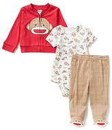 Baby Starters Baby Boys 3-9 Months Sock Monkey Face Jacket, Bodysuit and Footed Pant Set
