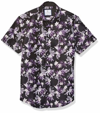 Azaro Uomo Men's Fit Short Sleeve Button Down Funky Hawaiian Style Casual