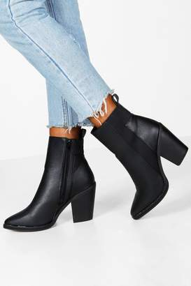 boohoo Wide Fit Elastic Panel Western Boots