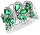 Effy Brasilica by Emerald (2-1/5 ct. t.w.) and Diamond (1/2 ct. t.w.) Flower Ring in 14k White Gold, Created for Macy's