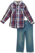 Kids Headquarters Red & Blue Plaid Button-Up Top & Pants - Infant