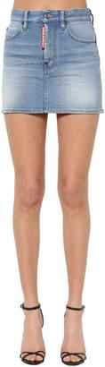 DSQUARED2 Super Fade Wash Cotton Denim Mini Skirt
