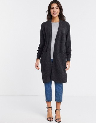 Selected Anna long sleeve knit cardigan in gray