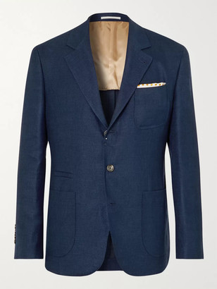 Brunello Cucinelli Unstructured Linen, Wool And Silk-Blend Hopsack Suit Jacket