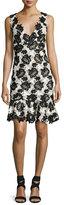 Monique Lhuillier Sleeveless Bicolor Guipure Lace Dress, White/Black
