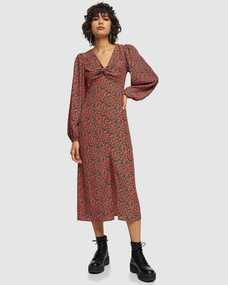 Topshop Rose Print Godet Twist Front Midi Dress