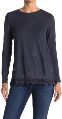 Bobeau Lace Trim Long Sleeve Sweater