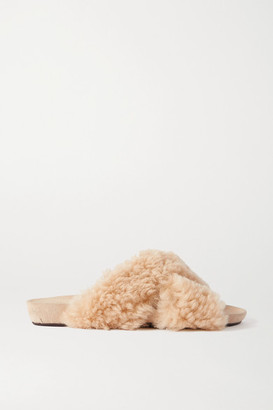 ATP ATELIER Doris Shearling And Suede Slides - Off-white