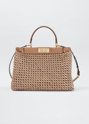 Fendi Peekaboo Medium Interlace Leather/Canvas Top-Handle Bag