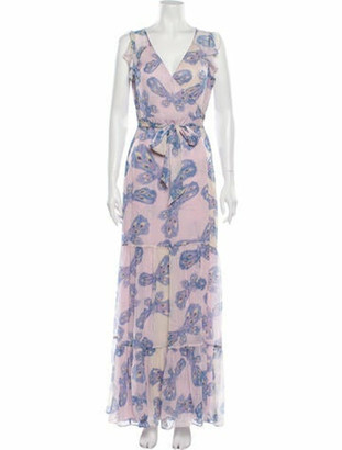 Diane von Furstenberg Printed Long Dress Pink