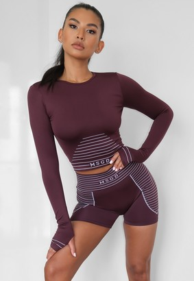Missguided Burgundy Seamless Msgd Long Sleeve Gym Top
