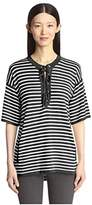 SOCIETY NEW YORK Women's Stripe Lace Front Tunic Sweater