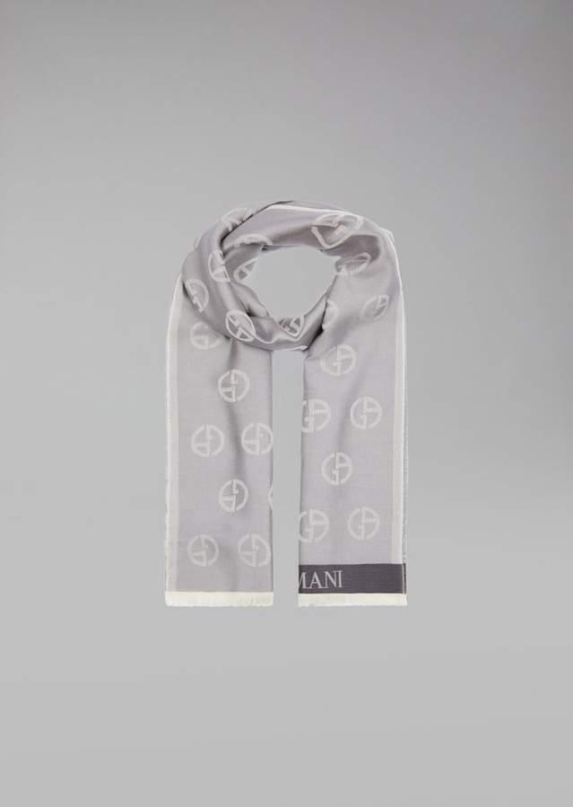 Giorgio Armani Silk And Cotton Scarf With Logos