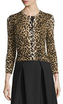 Carolina Herrera 3/4-Sleeve Leopard-Print Cardigan, Black/Camel