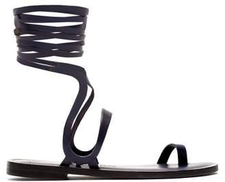 Álvaro González Alea Wraparound Leather Sandals - Womens - Navy