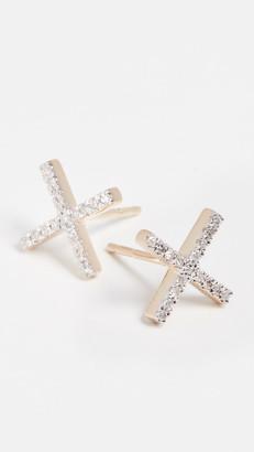 Adina Reyter 14k Gold Pave X Post Earrings