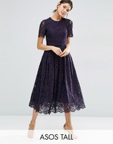ASOS Tall ASOS TALL Lace Crop Top Midi Prom Dress