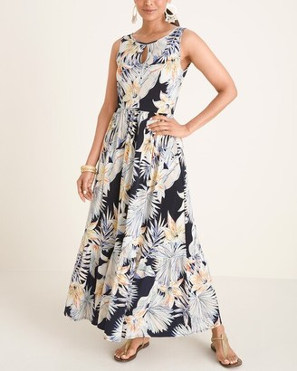 Chico's Tiered Tropical Print Maxi Dress