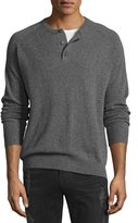 Neiman Marcus Cashmere Three-Button Sweater, Ash Heather/Black