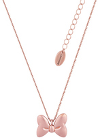 Disney Rose Gold Plated Minnie Mouse Bow Necklace