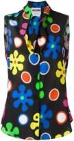 Moschino flower power neck tie blouse