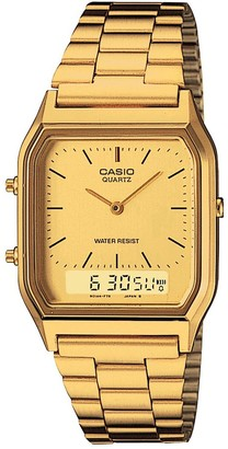Casio Retro Gold Digital and Analogue Dial Gold Stainless Steel Bracelet Watch