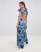 Asos Design DESIGN floral print satin jacquard maxi dress with open back